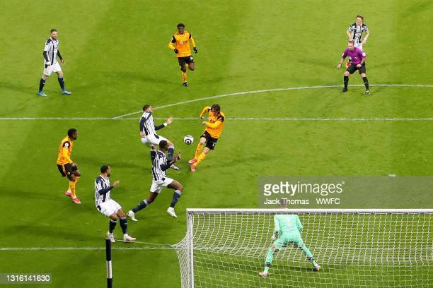Fabio Silva of Wolverhampton Wanderers scores his team's first goal during the Premier League match between West Bromwich Albion and Wolverhampton...