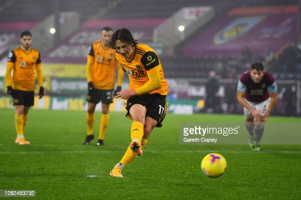 Fabio Silva of Wolverhampton Wanderers scores their team's first goal from the penalty spot during the Premier League match between Burnley and...