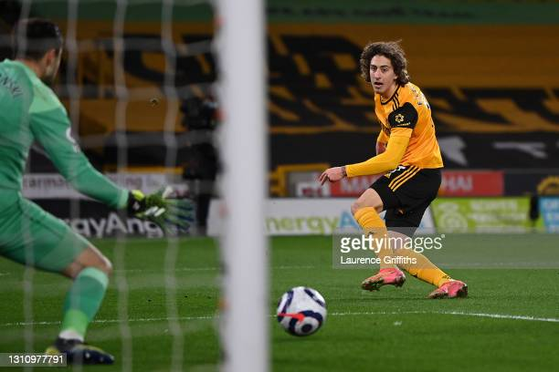 Fabio Silva of Wolverhampton Wanderers scores their team's second goal during the Premier League match between Wolverhampton Wanderers and West Ham...