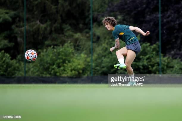Fabio Silva of Wolverhampton Wanderers shoots during a Wolverhampton Wanderers Pre-Season Training Session at Sir Jack Hayward Training Ground on...