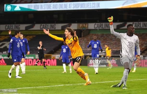 Fabio Silva of Wolves questions the linesman after his goal is ruled offside during the Premier League match between Wolverhampton Wanderers and...