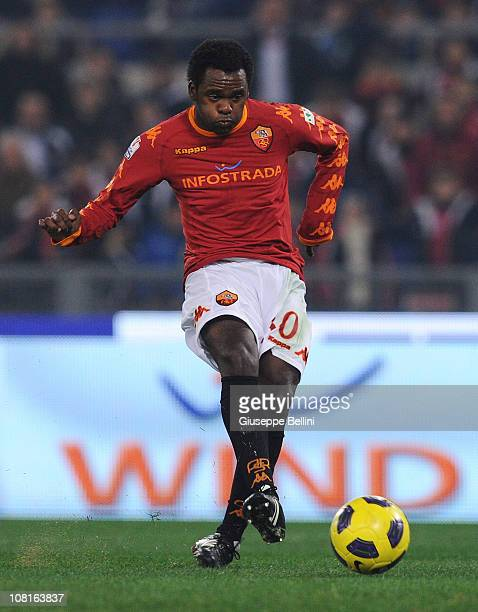 Fabio Simpicio of Roma shoots to score the goal 21 during the TIM Cup match between AS Roma and SS Lazio at Stadio Olimpico on January 19 2011 in...