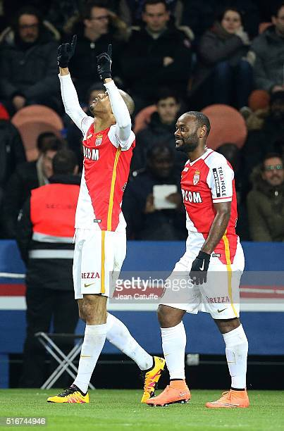 Fabio Tavares aka Fabinho celebrates his goal with Vagner Silva de Souza aka Vagner Love of Monaco during the French Ligue 1 match between Paris...