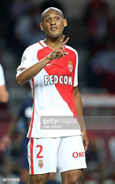 Fabio Tavares aka Fabinho of Monaco gestures during the French Ligue 1 match between AS Monaco and Paris SaintGermain at Stade Louis II on August 28...
