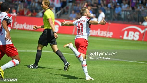 Fabio Viteritti of Cottbus celebrates during the 3. Liga match between FC Energie Cottbus and F.C. Hansa Rostock at Stadion der Freundschaft on July...