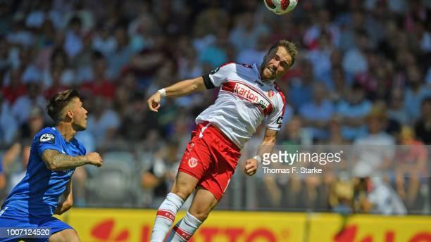 Fabio Viteritti of Cottbus heads his teams second goal during the 3. Liga match between FC Energie Cottbus and F.C. Hansa Rostock at Stadion der...