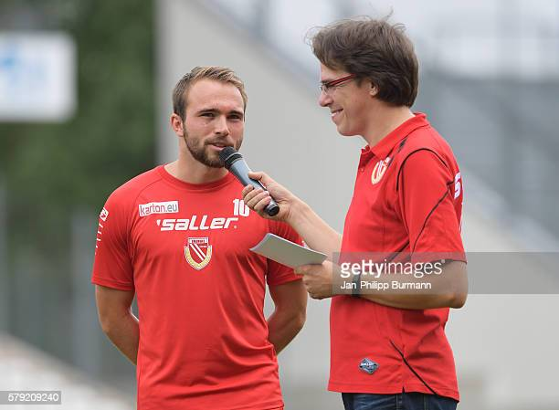 Fabio Viteritti of FC Energie Cottbus is being interviewed prior the test match between FC Energie Cottbus and 1 FC Union Berlin on July 23 2016 in...