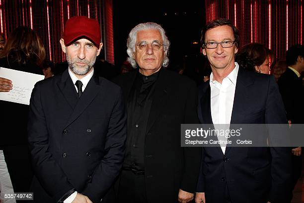Fabio Zambernardi Germano Celant and Thaddaeus Ropacattends the Prada Party at the Conseil Economique et Social in Paris