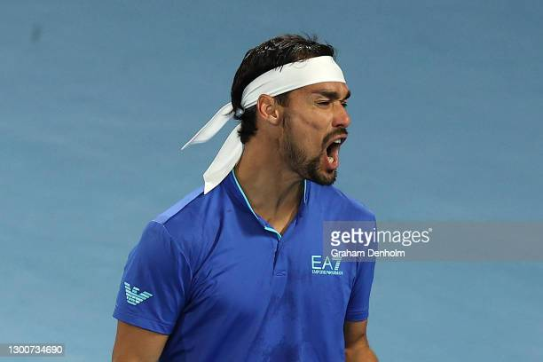 FabioFognini of Italy celebrates a point in his singles final match against AndreyRublev of Russia during day six of the 2021 ATP Cup at Rod Laver...