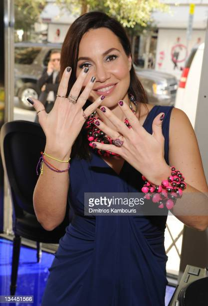 Fabiola Beracasa attends her celebration of Anselm Reyle for Dior with celebrity nail stylist Tracy Lee and DJ Jack Donoghue on December 1 2011 in...