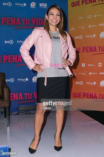 Fabiola Campomanes participates of the press conference of the new film Que Pena Tu Vida at Cinepolis University on November 24 2016 in Mexico City...