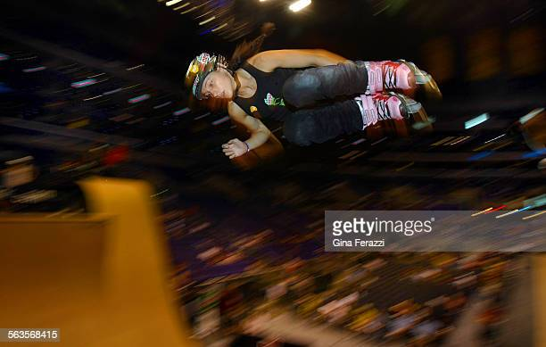 Fabiola da Silva25 of Santa Ana is the returning gold medal winner in the Aggressive In–Line Skate Vert at the X Games at Staples Center in Los...