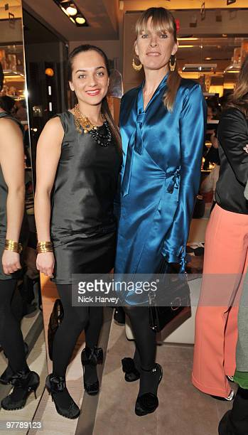 Fabiola Ferrara de Freitas and Deborah Leng attend the cocktail party for the launch of the 'Miss Viv' handbag collection by Roger Vivier on March 16...