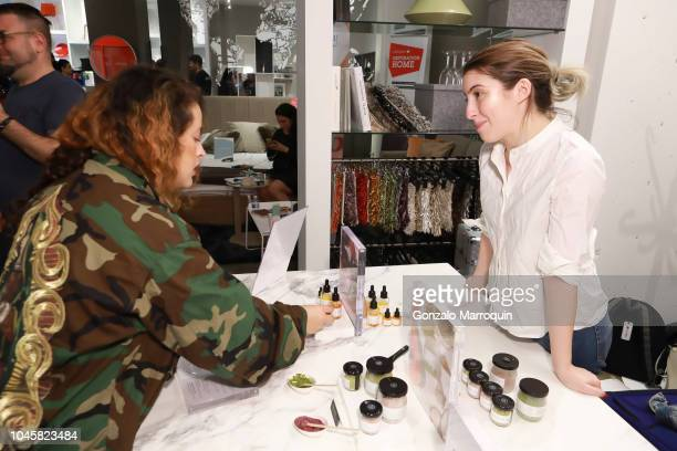 Fabiola Landaverde checks out LOLI Beauty at Beauty Brains And Booty A MultiBrand Whole Wellness Event on October 3 2018 in New York City