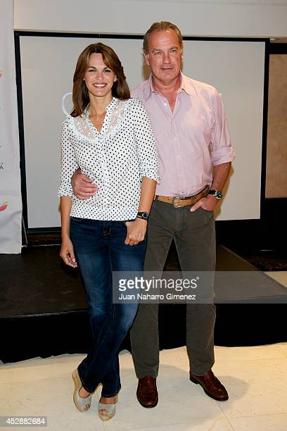 Fabiola Martinez and Bertin Osborne attend the Global Gift Gala Benefit Cheque presentation at Melia Hotel on July 29 2014 in Madrid Spain