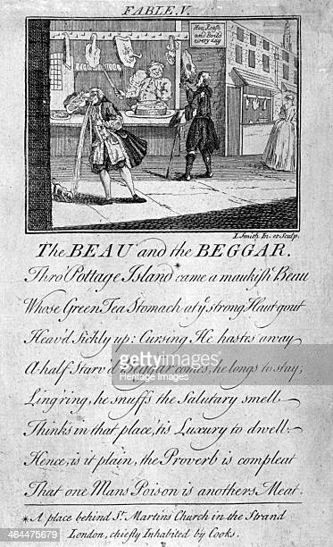 'Fable V the beau and the beggar ' c1770 The scene is Pottage Island an area behind St MartinintheFields then inhabited by cooks A man on the left...