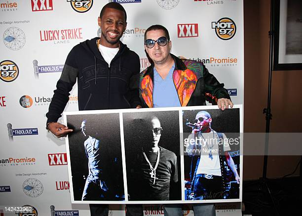 Fabolous and artist Noah G Pop attend a Fabolous Way's 3rd annual Urban Promise Fundraiser at the Lucky Strike Lanes Lounge on April 4 2012 in New...