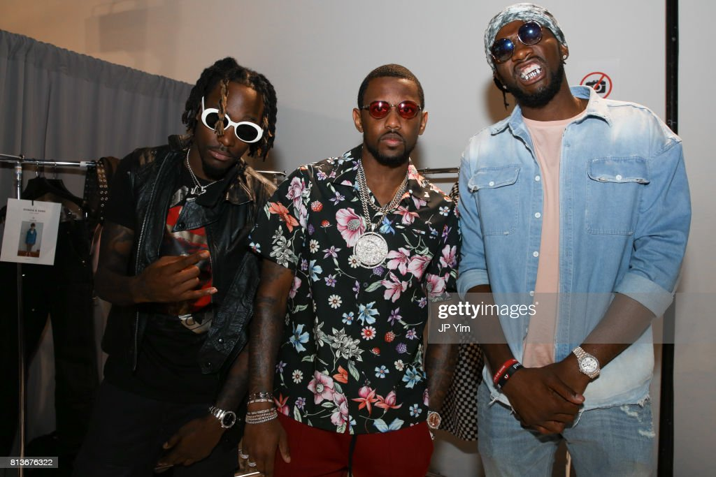 JAZZ2KOOL, FAbolous and NBA player Kenneth Faried backstage at Ovadia & Sons Spring 2018 Collection at Skylight Clarkson Sq on July 12, 2017 in New York City.