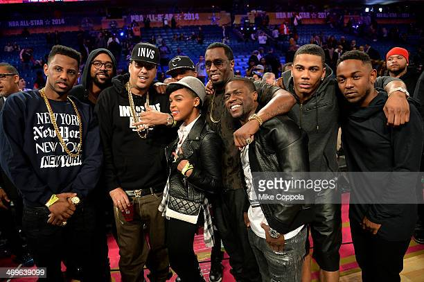 Fabolous French Montana Janelle Monae Sean Combs Kevin Hart Nelly and Kendrick Lamar attend the State Farm AllStar Saturday Night during the NBA...