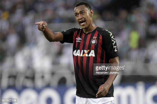 Fabrícioof Atletico PR reacts during the match between Botafogo and Atletico PR as part of Brasileirao Series A 2017 at Engenhao Stadium on...