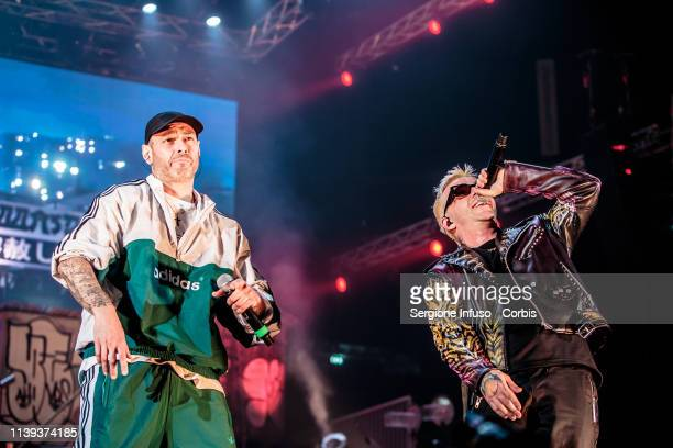 March 30: Fabri Fibra and Salmo perform on stage at Mediolanum Forum on March 30, 2019 in Milan, Italy.