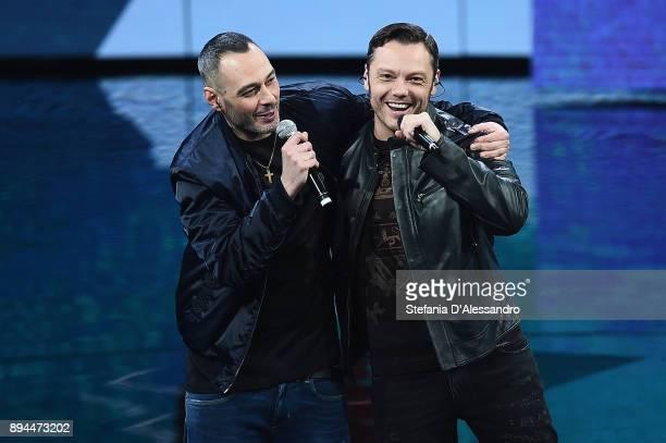 Fabri Fibra and Tiziano Ferro attend Che Tempo Che Fa Tv Show on December 17 2017 in Milan Italy