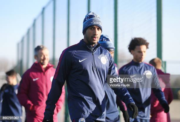 Fabrian Delph reacts during training at Manchester City Football Academy on December 11 2017 in Manchester England