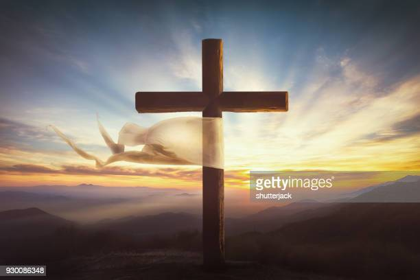 fabric caught on a crucifix - good friday stock pictures, royalty-free photos & images