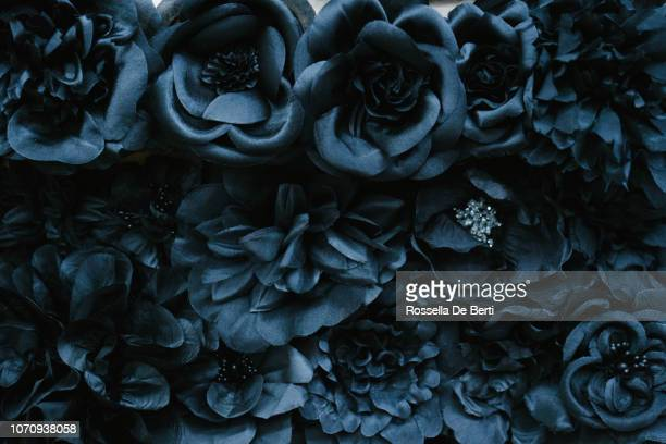 fabric flower close-up - black color stock pictures, royalty-free photos & images