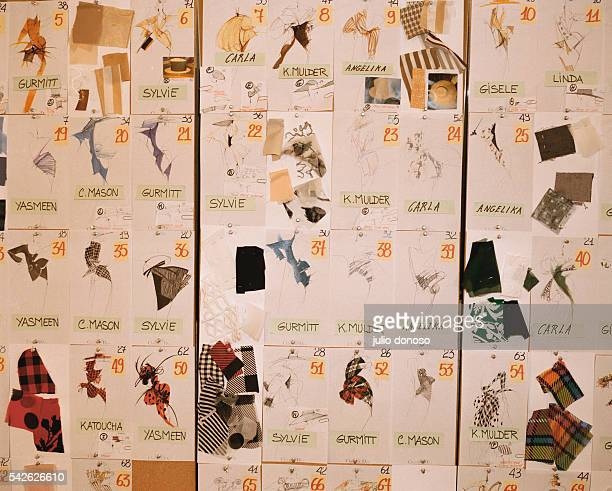 Fabric samples and sketches cover a storyboard from Italian designer and creative director Gianfranco Ferre during the preparation of Christian...