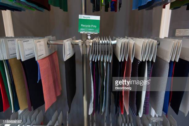 Fabric samples are displayed inside the showroom at the EclatTextile Co. Headquarters in Taipei, Taiwan, on Monday, July 8, 2019. The sportswear...