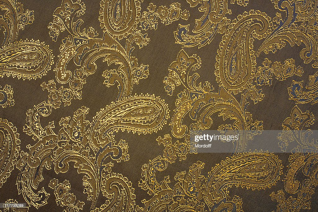 Fabric texture with indian ornaments : Stock Photo