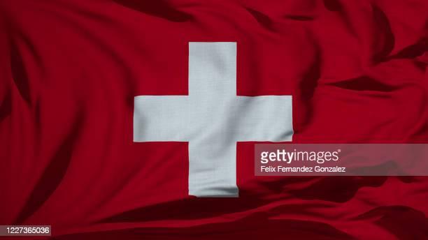 fabric wavy texture national flags - switzerland fotografías e imágenes de stock