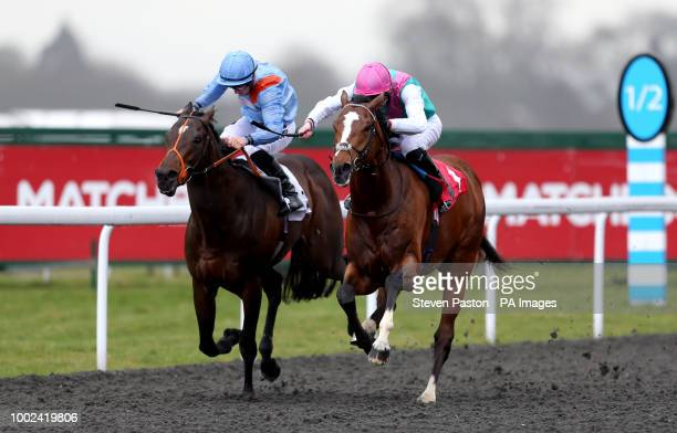 Fabricate ridden by Andrea Atzeni during the Better Odds With Matchbook Magnolia Stakes during the Easter Family Fun Day at Kempton Park Racecourse
