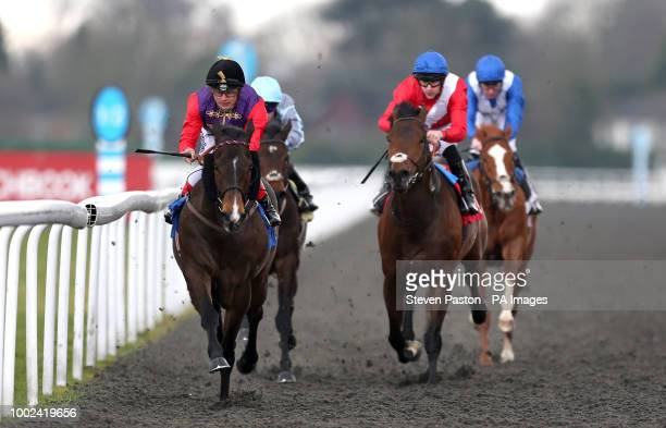 Fabricate ridden by Andrea Atzeni wins the Better Odds With Matchbook Magnolia Stakes during the Easter Family Fun Day at Kempton Park Racecourse