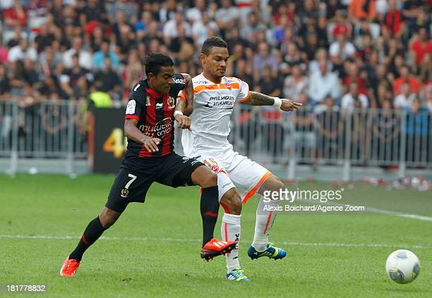 Fabrice Abriel of OGC Nice in action during the French Football League 1 match between OGC Nice and Valenciennes FC on September 22 2013 in Nice...