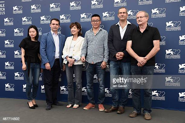 Fabrice Blancho guest director Zhao Liang Laurent Vallet and Alex Szalat attend a photocall for 'Behemoth' during the 72nd Venice Film Festival at...