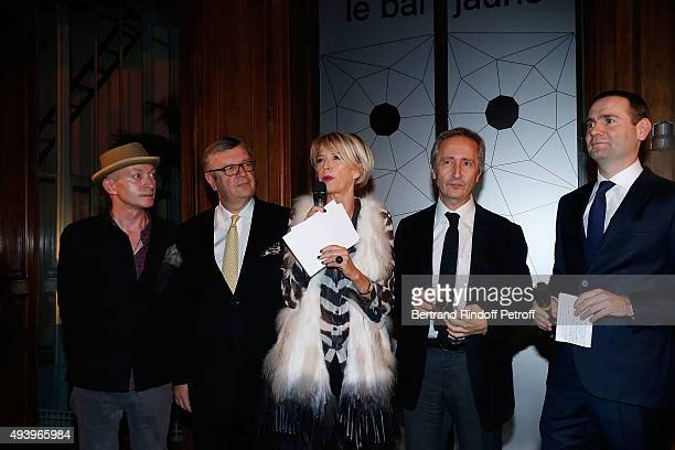 Fabrice Bousteau Philippe Savinel Colette Barbier Bernard Blistene and Alexandre Ricard attend 'Le Bal Jaune 2015' Dinner Party At Hotel Salomon de...