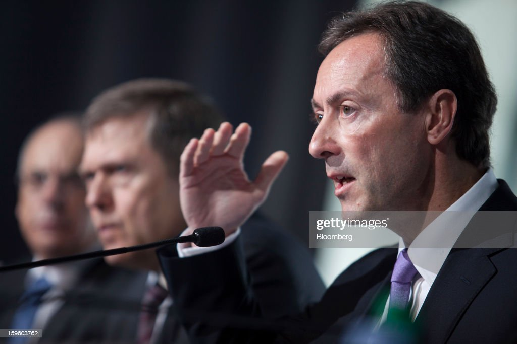 Fabrice Bregier, chief executive officer of Airbus SAS, right, gestures whilst speaking during a news conference in Colomiers, France, on Thursday, Jan. 17, 2013. Bregier said he's sticking with a goal of flying the A350 jet mid-year and that it represents 'a lower risk approach' than the Boeing Co. 787 grounded by U.S. regulators yesterday. Photographer: Balint Porneczi/Bloomberg via Getty Images