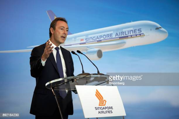 Fabrice Bregier chief operating officer of Airbus SE speaks during the welcome ceremony for the Singapore Airlines Ltd Airbus A380 aircraft with...