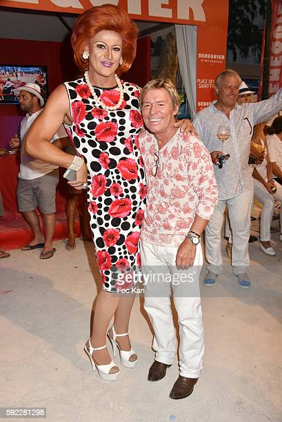 Fabrice from cabaret de Couqueques' and Chef Yvan Zaplatilek attend theTrophee Senequier At Place des Lices on August 19 2016 in SaintTropez France k