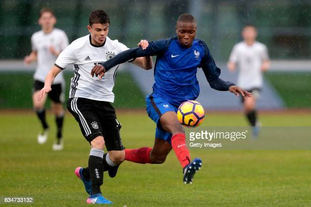 Fabrice Hartmann of Germany U16 challenges Bafode Diakite of France U16 during the UEFA Development Tournament Match between Germany U16 and France...