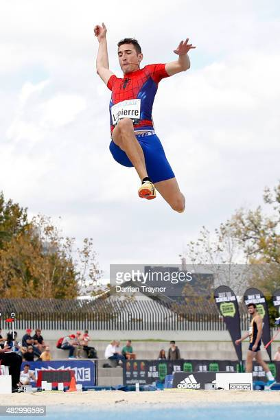 Fabrice Lapierre competes in the Long Jump during the 92nd Australian Athletics Championships on April 6, 2014 in Melbourne, Australia.