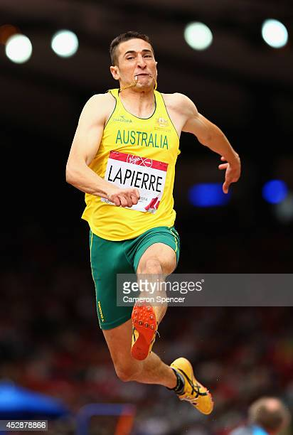Fabrice Lapierre of Australia competes in the Men's Long Jump qualification at Hampden Park during day six of the Glasgow 2014 Commonwealth Games on...