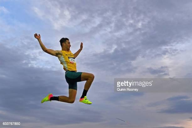 Fabrice Lapierre of Australia competes in the Men's Long Jump during Nitro Athletics at Lakeside Stadium on February 4 2017 in Melbourne Australia