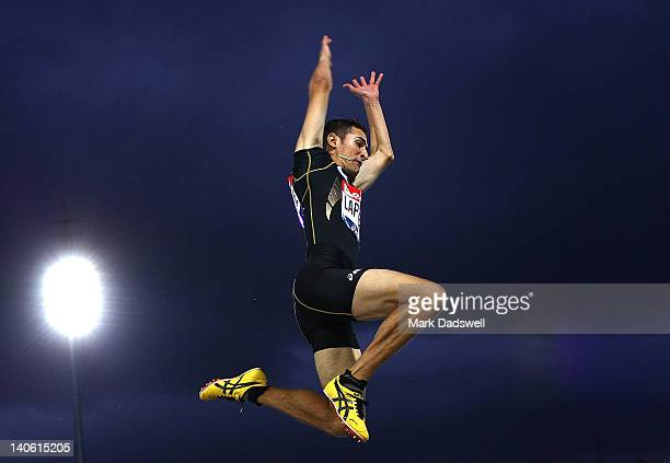 Fabrice Lapierre of Australia competes in the Mens Long Jump Open during day two of the Melbourne Track Classic/IAAF World Challenge event at...