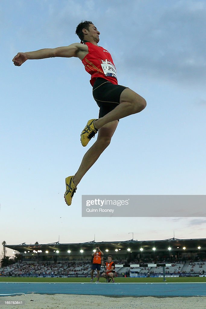 Fabrice Lapierre of Australia jumps in the Men's Long Jump during the 2013 Melbourne Track Classic at Olympic Park on April 6, 2013 in Melbourne, Australia.