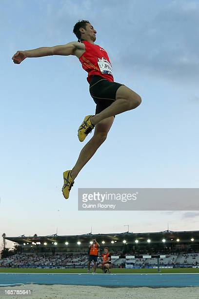 Fabrice Lapierre of Australia jumps in the Men's Long Jump during the 2013 Melbourne Track Classic at Olympic Park on April 6, 2013 in Melbourne,...