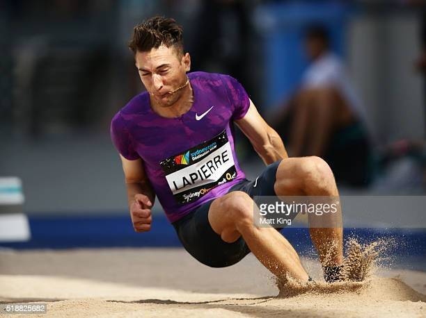 Fabrice Lapierre of New South Wales competes in the Men's long jump final during the Australian Athletics Championships at Sydney Olympic Park on...