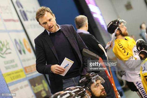 Fabrice Lhenry headcoach of Rouen during the Ice hockey Ligue Magnus Final second game between Les Ducs d'Angers v Les Dragons de Rouen on March 23...